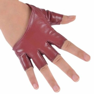 Pu Ran Women Half Finger Leather Gloves Fingerless Mittens - Wine Red