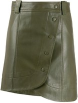 Ganni asymmetric buttoned mini skirt