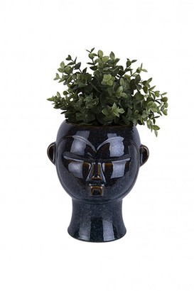 The Sue Parkinson Home Collection - Round Mask Face Plant Pot In Dark Brown