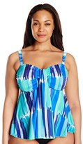 Fit 4 U Women's Plus-Size Plus-Size Seaport Microfiber Waterfall Bandeau Tankini