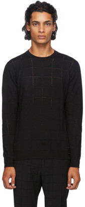 Fendi Black Wool Punched Check Sweater