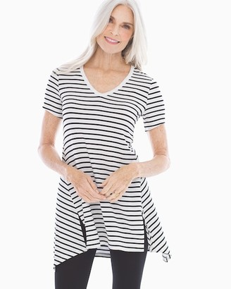 Style Essentials Soft Jersey Short Sleeve Tunic Tee Aerial Stripe White