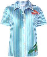 Mira Mikati multiple embroideries shortsleeved shirt - women - Cotton/Polyester/Spandex/Elastane - 36