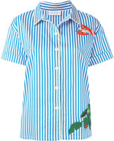 Mira Mikati multiple embroideries shortsleeved shirt - women - Cotton/Polyester/Spandex/Elastane - 40
