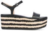 MICHAEL Michael Kors striped mid platform sandals - women - Leather/Raffia/rubber - 6