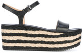 MICHAEL Michael Kors striped mid platform sandals - women - Raffia/Leather/rubber - 6