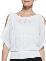 Catherine Malandrino Cold-Shoulder Studded Top