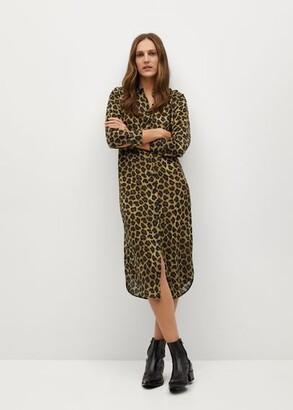 MANGO Leopard-print shirt dress