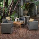 Christopher Knight Home Puerta 4pc Wicker Club Chair & Coffee Table Set