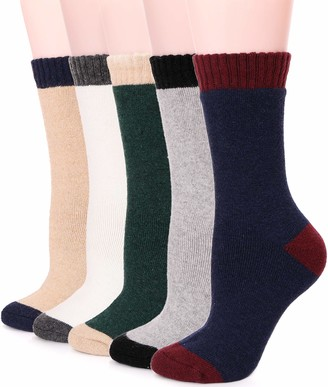 Ebmore Womens Wool Crew Socks 5 Pack Heavy Long Boot Thick Thermal Warm Comfy Winter Soft Work Ladies Socks for Cold Weather(Mix Color A)