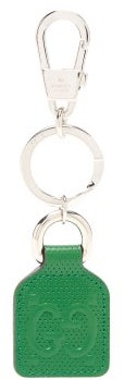 Gucci GG-monogram Perforated-leather Key Ring - Green