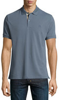 Burberry Check-Placket Piqué Polo Shirt, Stone Blue