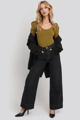 Trendyol Stitching High Waist Wide Leg Jeans Black