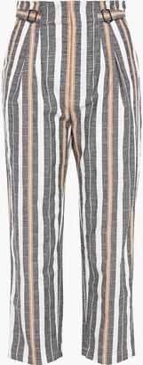 Joie Striped Cotton-blend Jacquard Straight-leg Pants