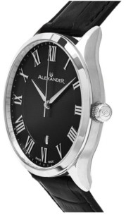 Stuhrling Original Alexander Watch A103-02, Stainless Steel Case on Black Embossed Genuine Leather Strap
