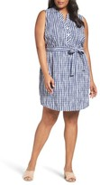 Foxcroft Plus Size Women's Adele Crinkle Gingham Shirtdress