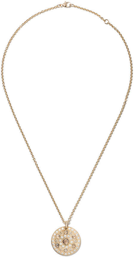 De Beers 18kt yellow gold Talisman medal diamond pendant necklace
