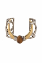 House Of Harlow Open Weave Cuff with Tiger's Eye Stone in Silver