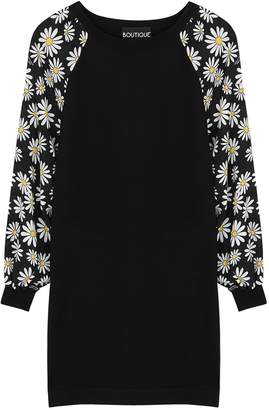 Moschino Black Floral-print Stretch-knit Mini Dress