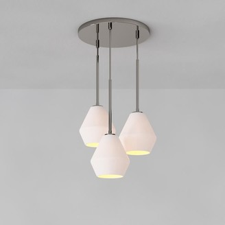 west elm Sculptural Glass 3-Light Geo Chandelier - Milk