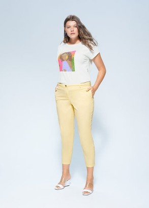 MANGO Violeta BY Slim-fit pants pastel yellow - 10 - Plus sizes