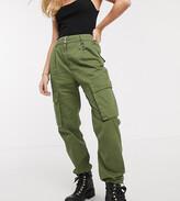 Bershka pocket detail cargo pants in khaki