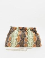 Who What Wear Chiara grab clutch bag in snake