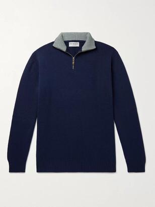 JAMES PURDEY & SONS Slim-Fit Melange Cashmere Half-Zip Sweater