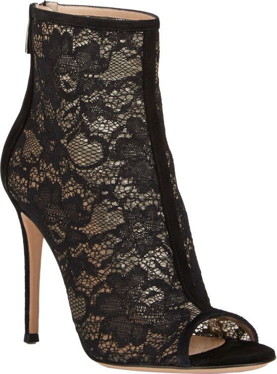 Gianvito Rossi Lace & Suede Ankle Booties-Black