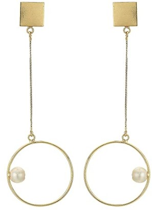 Kenneth Jay Lane Gold Square Top with Gold Chain/Circle with Pearl Drop Pierced Earrings