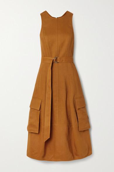 Tibi Cutout Linen-blend Twill Midi Dress - Tan