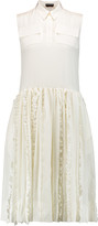 Rochas Guipure lace-paneled silk crepe de chine dress