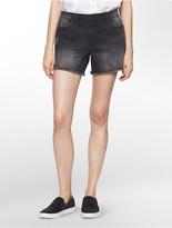 Calvin Klein Destructed Black Wash Weekend Denim Shorts