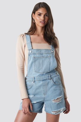 NA-KD Distressed Denim Short Dungarees Blue
