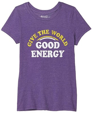 The Original Retro Brand Kids Give the World Good Energy Crew Neck T-Shirt (Big Kids) (Streaky Purple) Girl's Clothing