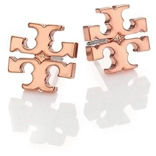 Tory Burch Rose Goldtone Logo Stud Earrings