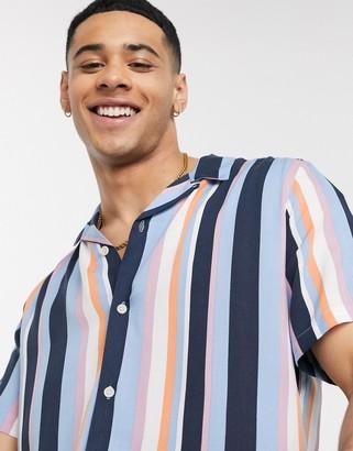 Topman short sleeve stripe shirt in blue