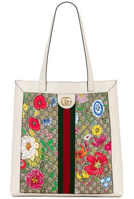 Gucci Supreme GG Flora Tote in Beige Ebony & White | FWRD