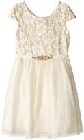 Us Angels Short Sleeve Bonded Glitter Lace Dress w/ Tulle (Big Kids)