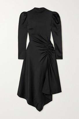 Jonathan Simkhai Reese Asymmetric Gathered Satin Dress - Black