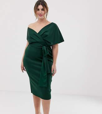 Asos DESIGN Curve fallen shoulder midi pencil dress with tie detail-Green