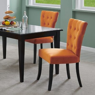 Kern Solid Wood Dining Chair Charlton Home Upholstery Color: Soft Charcoal Gray Velvet