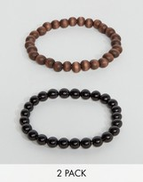 Asos Beaded Bracelet Pack In Black And Brown