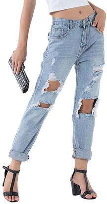 Belle de Jour Women's Denim Pants and Jeans Light - Light Blue Distressed Roll-Cuff Boyfriend Jeans - Women