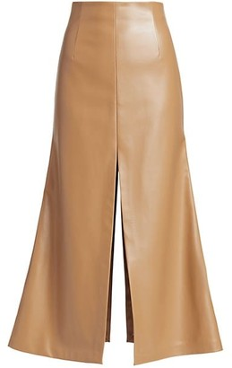 A.W.A.K.E. Mode Faux Leather Slit Maxi Skirt