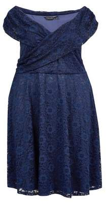 Dorothy Perkins Womens **Dp Curve Navy Lace Fit And Flare Dress