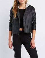 Charlotte Russe Hooded Faux Leather Moto Jacket