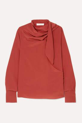 Chloé Tie-neck Draped Silk Crepe De Chine Blouse - Red