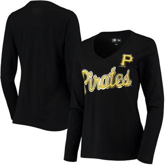 G Iii Women's G-III 4Her by Carl Banks Black Pittsburgh Pirates Perfect Game Long Sleeve V-Neck T-Shirt