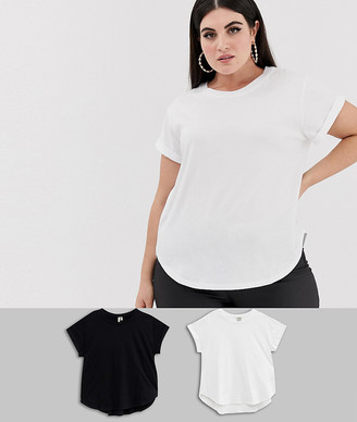 Asos DESIGN Curve t-shirt in boyfriend fit with rolled sleeve and curved hem in 2 pack SAVE-Multi